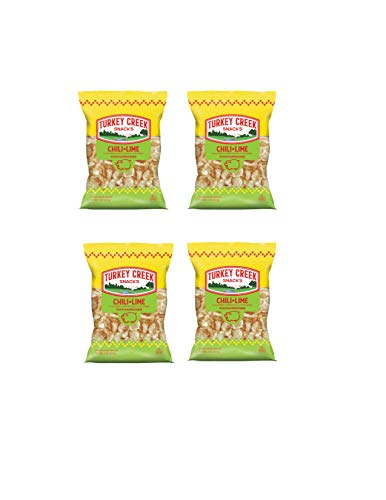 Turkey Creek - America's Best Fried Pork Skins, offers a Premium 4-Bag Pack of its Chili-Lime Pork Rinds . These Pork Skin Chips (Chicharrones) are packed in full 2.0 oz bags.