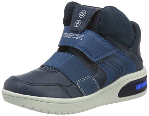 Geox Boys J XLED Boy A Sneaker, Navy,32 EU