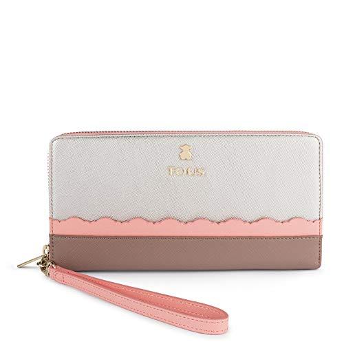 Tous Billetera L. CARLATA Plata-Rosa, Monedero para Mujer, Plateado, 21.5x11x2 cm (W x H x L)