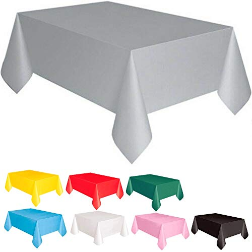 DIWULI, große Tischdecke Silber, Tafeldecke 183 x 137 cm rechteckig, Tafeltuch, einweg Tischwäsche, Kunststoff-Tischdecke abwaschbar Kinder-Geburtstag, Mädchen Junge, Motto-Party, Dekoration, Deko