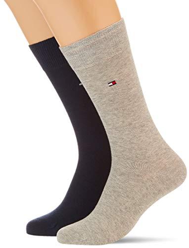 Tommy Hilfiger Classic Men's Socks (2 Pack) Calcetines, Gris Claro, 39-42 para Hombre