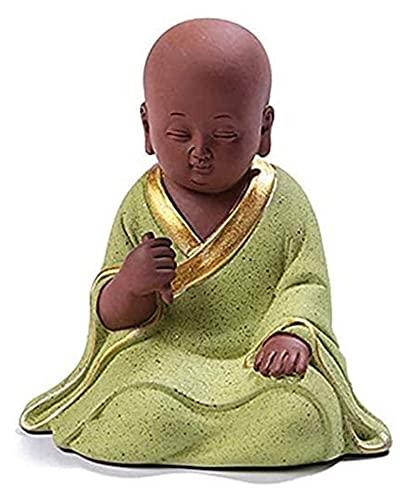 Kinesiska Little Monk Statyer, Lila Lera/Zisha Tea Pet Handgjorda Bästa Present Kungfu Tea Tray Tillbehör Dekoration för hem och kontor (Size : Drawing)