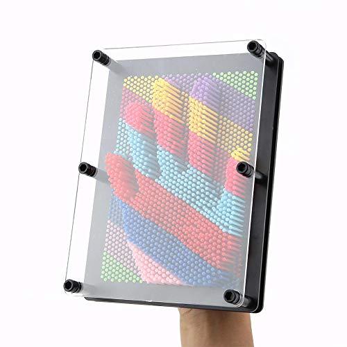 Ausla 3D Pin Skulptur, Kreatives 3D Nagelbild Handabdruck, Interessante Dauerhafte Roman Pin Art Board, Retro Spielzeug, 20 x 15 x 5,5 cm, Schwarz