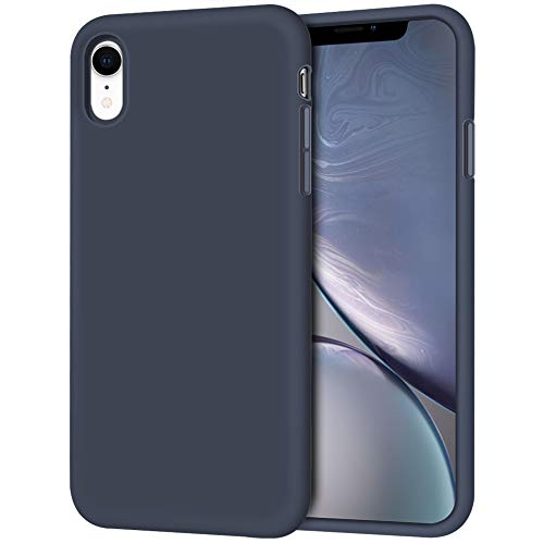 Anuck Case for iPhone XR Case 6.1 inch 2018, Soft Silicone Gel Rubber Bumper Phone Case with Anti-Scratch Microfiber Lining Hard Shell Shockproof Full-Body Protective Case Cover - Dark Blue