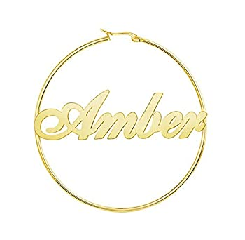 Earrings Personalized Customize Bamboo Personalized Gold Name Hoop Earrings as a Gift for Women Girls Mother s Gift 2.5 Inch