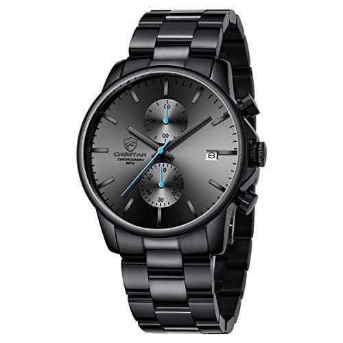 GOLDEN HOUR Reloj de Cuarzo para Hombre de Negocios de Moda con cronógrafo Impermeable de Acero Inoxidable para Hombre, Fecha automática (Blue)