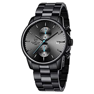GOLDEN HOUR Men's Watches with Black/Silver Stainless Steel and Metal Casual Waterproof Chronograph Quartz Watch, Auto…