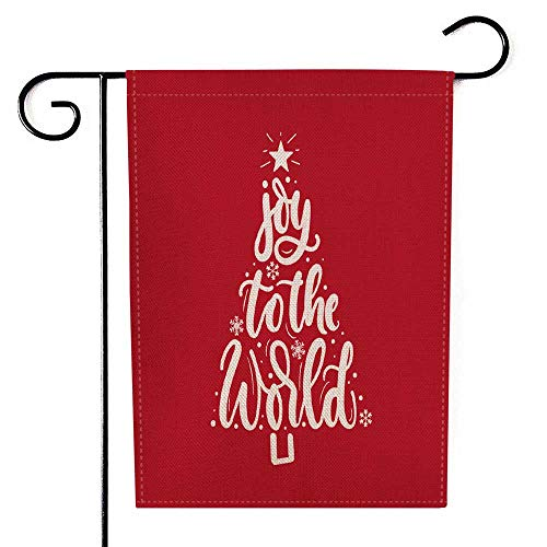Bisead Outdoor Decorations,Double Sided 12.5X18 Inch Holiday Garden Flags Joy to the World Inspirational Christmas Greeting Card Tree Trendy Burlap Decorations,Joy Garden Flag,Christmas Garden Flag
