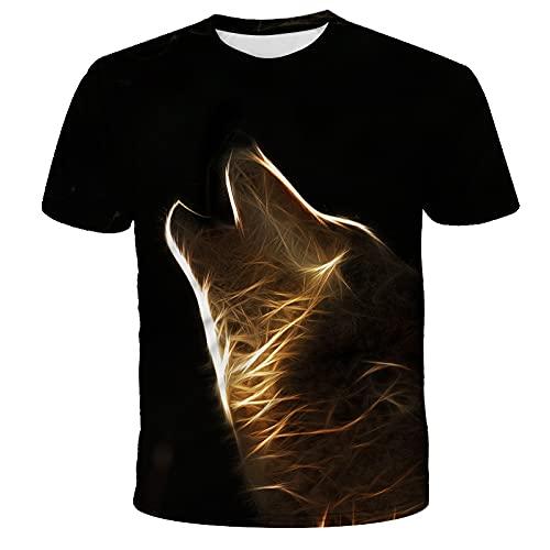 EMPERSTAR Camisetas para Hombre Cuello Redondo Manga Corta Camisetas Estampadas de Lobo Moda Ropa Estampada Tops Jerseys