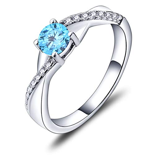 YL Bague de fiançailles bague de mariage en argent 925 avec zircone bleue aigue-marine 5 MM pierre de naissance de mars bague à l'infini bague solitaire pour femme (taille 62)
