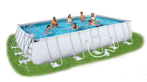 Bestway Rectangular Frame Set Piscina sobre Suelo, 22' Rectangular Frame Pool Set, Gris, 22 Ft
