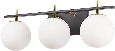 3-Light Bathroom Vanity Light, Industrial Wall Sconce Bathroom Lighting Over Mirror, Matte Black Finish, Milk White Glass ...
