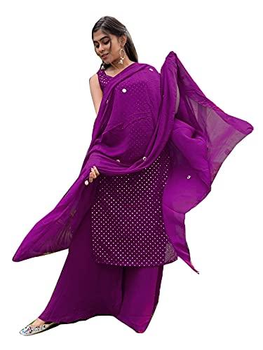 India Georgette Fantasía Espejo Y Bordado Trabajo Recto Kurti Plazzo Punjabi Traje Mujer 6819, Púrpura/Ombre Force., Large