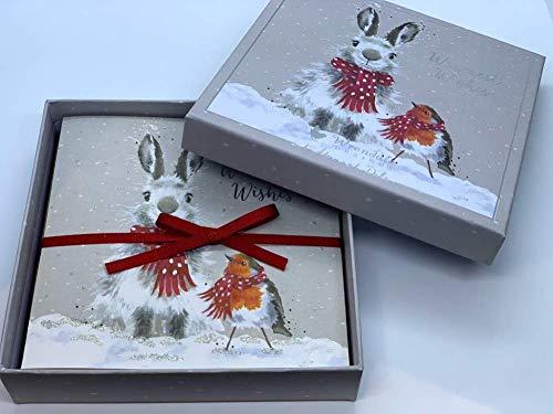 Wrendale Designs - Set di 8 biglietti di auguri natalizi, motivo: coniglietto e pettirosso