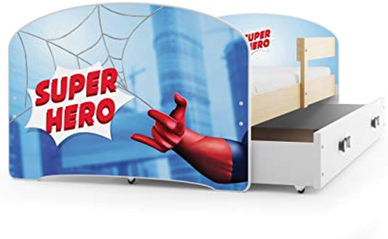 Kinderbett LUKI Farbe  Kiefer, 160x80cm, mit Matratze, Lattenrost und Schublade (SPIDERMAN)