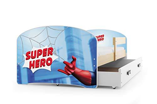 Kinderbett LUKI Farbe: Kiefer, 160x80cm, mit Matratze, Lattenrost und Schublade (SPIDERMAN)