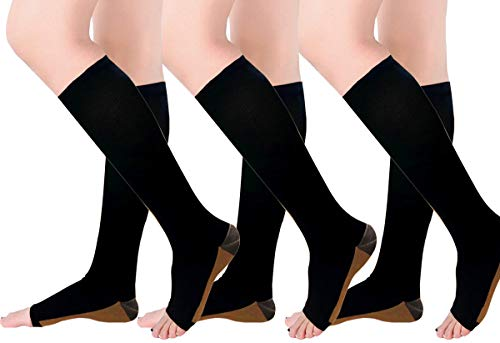 Copper Compression Socks, Open-Toe 20-30mmHg Graduated Compression Stockings for Men Women(3 Pairs) - Best for Athletic, Running, Flight, Travel, Nurses,Edema (Black - 3 Pairs, L/XL)