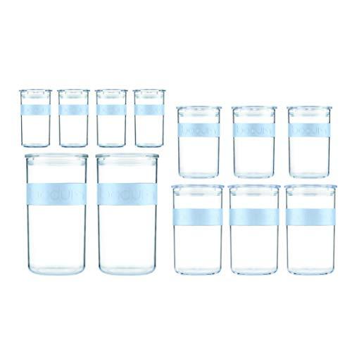 Bodum Presso Vorratsglas, Kunststoff, Blue Moon, 4 x 0.25 l, 3 x 0.6 l, 3 x 1 l, 2 x 2 l