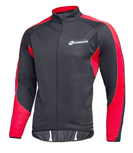Winter Cycling Clothes Men's Windproof Biking Jacket Fleece Liner Bicycle Riding Tops Warm Up L Size Black-Red