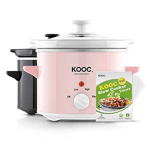 [NEW] KOOC Small Slow Cooker, 2-Quart, Free Liners Included for Easy Clean-up, Upgraded Ceramic pot, Adjustable Temp, Nutrient Loss Reduction, Stainless Steel, Pink, Round