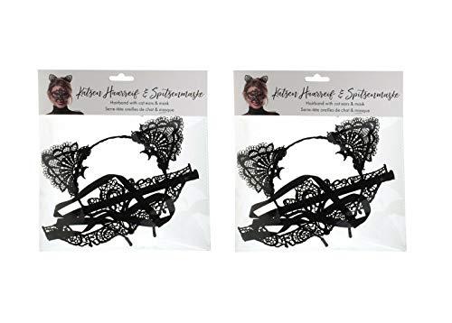 Sonnenscheinschuhe® Doppelpack: 2 x Haarreifen Set Katze Spitze Ohren und Maske Fastnacht Fasching Karneval Kostüm
