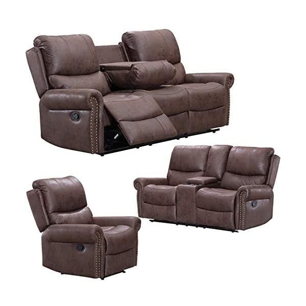 Recliner Sofa for Living Room Set Reclining Couch Sofa Chair Palomino Fabric Loveseat...