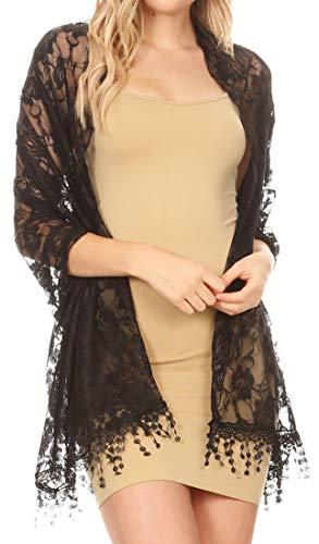 Sakkas 1929 - Mari Women's Large Lightweight Soft Lace Scarf Wrap Shawl Floral and Fringe - BlackRoseLace - OS