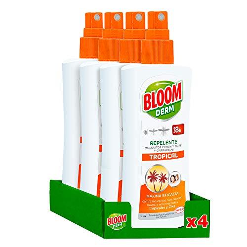 Bloom Repelente Loción Tropical 100ml - Pack de 4, Total: 400ml