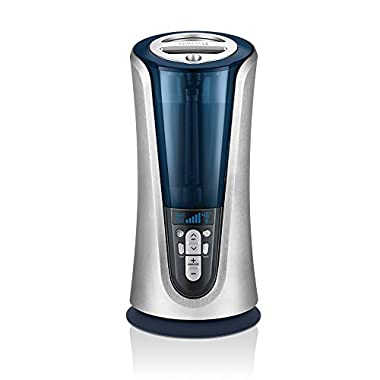 Homedics Cool & Warm Mist Tower Ultrasonic Humidifier | 1.5 Gallon Tank, 65 Hour Runtime, LCD Display, Humidity Sensor | Clean Tank Technology, BONUS DEMINERALIZATION CARTRIDGE