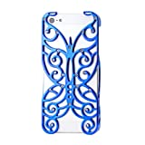 Gearonic AV-5353LPUIB Chrome Electroplating Rhinestones Hollow Butterfly Pattern PC Hard Back Case Cover for iPhone 5 - Non-Retail Packaging - Blue