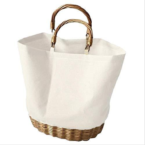 Phrat Tragetasche Leinwand Tragbare Einkaufstaschen Nähen Gewebte Tasche Rattan Stricken Frauen für die Schule Arbeit Einkaufen und Reisen 1 stücke