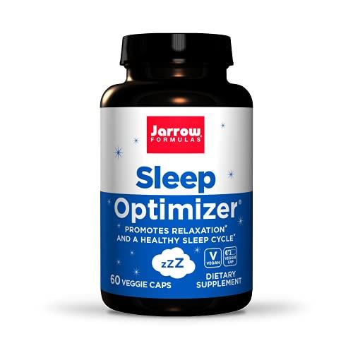 Jarrow Formulas Sleep Optimizer - 60 Veggie Caps - Promotes Healthy Sleep Cycle & Relaxation - Includes PharmaGABA, Hops Flower, Valerian, Melatonin & L-tryptophan - 30 Servings