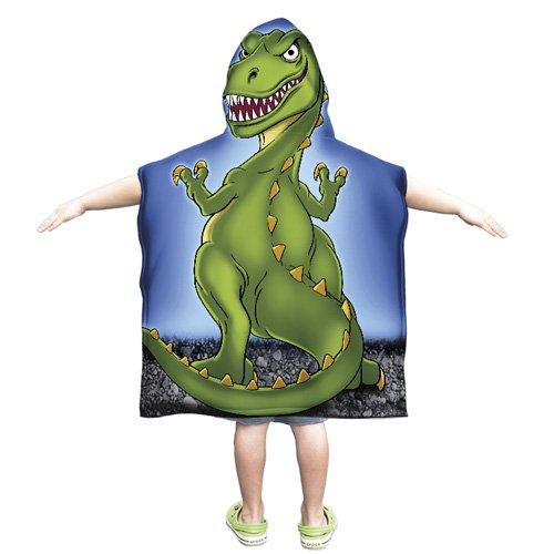 Dawhud Direct Kids Super Soft Plush T-Rex Dinosaur Cotton Hooded Poncho Bath Beach Pool Towel