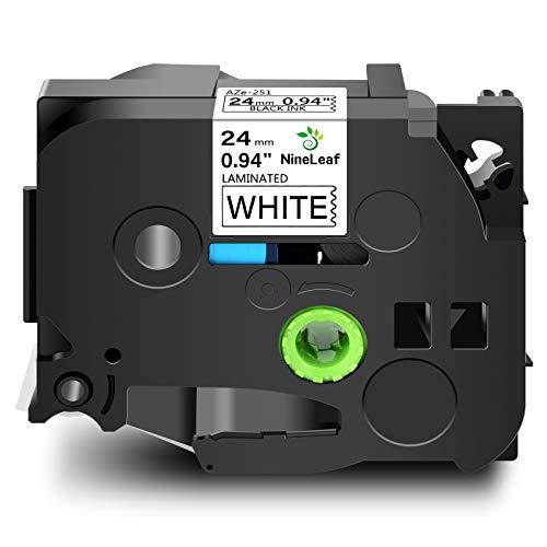 NineLeaf TZe TZ 251 Cassettes TZe251 TZ251 Standard Laminated Self-Adhesive Label Tape Compatible for Brother P-Touch D600 2430PC PT-P750W PT-E550WVP Label Marker 24mm x 8m Black on White