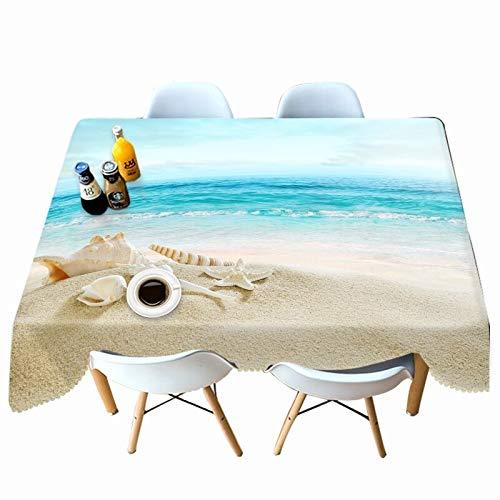 XXDD Mantel con Estampado de algodón Creativo, Mantel con patrón de Vida Marina y Estrella de mar Amarilla, Cubierta de Mesa Rectangular Impermeable, variación A6