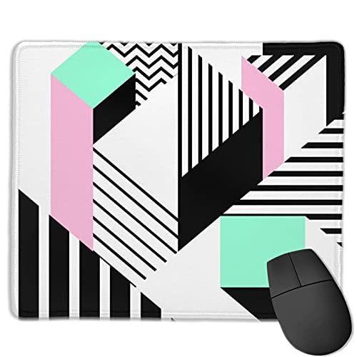 Gaming Mouse Pad Benutzerdefiniert,Buntes Memphis geometrisch im modernen abstrakten Form-Spaß-Bauhaus,Office Rectangle rutschfeste Gummi-Mauspad für Computer Laptop 9.8