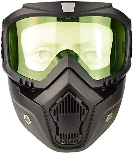 YIQI Motorcycle Maske Abnehmbaren,Motorrad Schutzbrille Staubschutz Brille mit abnehmbaren Gesichtsmaske Winddicht für Outdoor Fahrrad Dirtbike Motocross Off-Road Goggle (Gelbe Linsen)