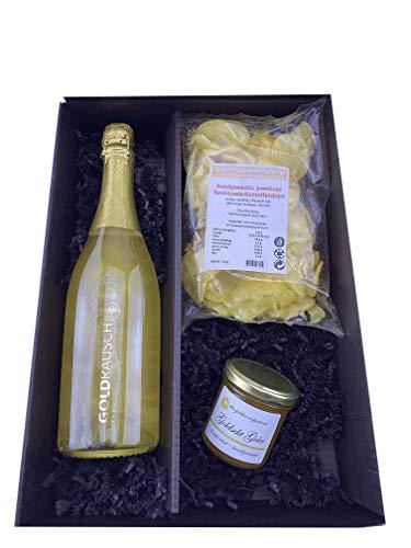 """3er Geschenkset -""""Gold Sekt"""" - The Golden Experience ! Für Champagner- u. Sekt Liebhaber m. 23 Karat Goldplättchen, Blattgoldflocken, Goldstaub ! Mit Goldchips & Goldsektgelee"""