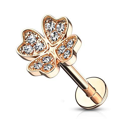 Autiga® Labret Piercing Kleeblatt Clover Lippen-Piercing Monroe Madonna Medusa Stecker Stud Zirkonia Kristalle roségold 1,2 mm 8 mm