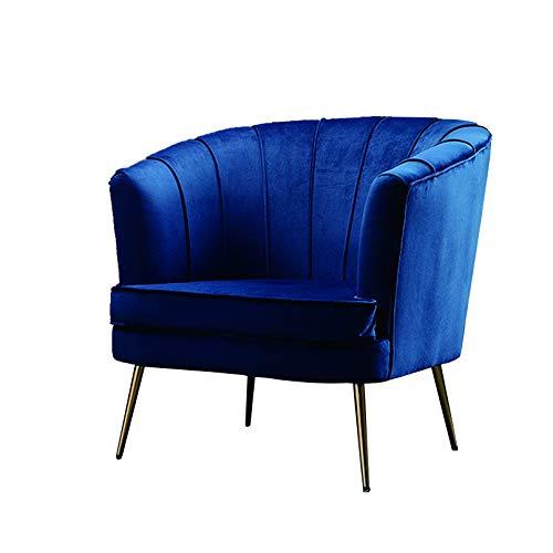 Creator-Z Butacas de Diseño, Sillon de Espera Fijo, Sillón Lounge Terciopelo Vintage, Sillas de Comedor Tapizada con Patas de Metal Dorado, Estilo Nordico,Azul