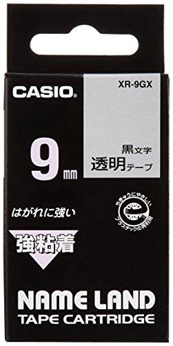 カシオ ラベルライター ネームランド 強粘着テープ 9mm XR-9GX 透明 5個セット