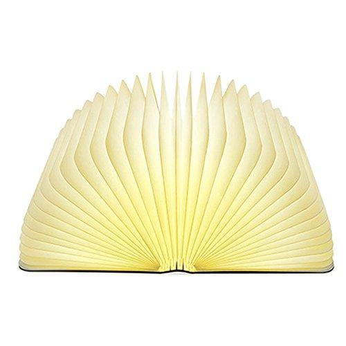 Lixada Lámpara Libro LED Luces Plegables de Madera, Booklight Decorativa Lámpara de Mesa, Tamaño Grande, 2500mAh, USB Recargable, 500 Lúmenes Brillo Mejorado