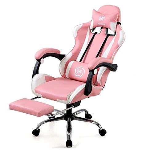 Mode Internet Cafe Spiel Stuhl Personalisierte Gaming Chair Home Study Stuhl Büro-Boss Stuhl Angehoben Und Abgesenkt Werden Kann Gedreht Werden (Color : Pink)