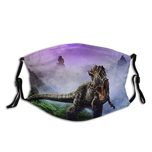 135 Tsundere - Pañuelo con filtro facial a prueba de polvo, diseño de dinosaurios, cómodo, transpirable, lavable, color negro, Colmillos de dinosaurio, Talla única