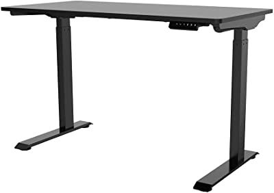 Monoprice Home Office Single Motor (47.2in x 23.6in) Sit-Stand Desk Table-Workstream Collection, Black