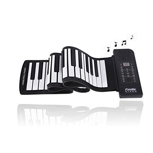 Keyboard Klavier Faltbare 61 Tasten, Roll-up Weiches Silikon Flexibles Elektronisches Klavier Digital Music Keyboard Piano mit 128 Töne,128 Rhythmen,45 Demo Songs