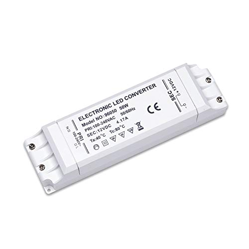 Yafido Transformateur 220V 12V Adapteur Alimentation LED 50W Convertisseur, 1.25A DC, Transfor pour MR16 MR11 G4 Band de Lumiere