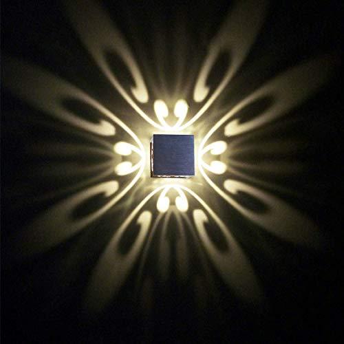 Preisvergleich Produktbild uksunvi LED Wandleuchte 3W Moderne 4 Schmetterling AC85-265V Wandleuchten Aluminium kreative Lampe Innenleuchten für Zuhause energiesparende Lichtpunktlicht LED-Lampe Dekoration Wandmontage (Warmweiß)
