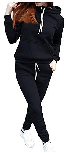 SUKIYAKI Women Jogger Outfit Matching Sweat Suits Long Sleeve Hooded Sweatshirt and Sweatpants 2 Piece Sports Sets (XXL, Black)