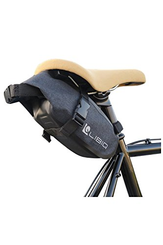LIBIQ(リビック)自転車 サドルバッグ 防水バッグ ロードバイク クロスバイク マウンテンバイク サドルバッグ オールウェザーロール【1.5Lコンパクトに見えて大容量】 (1、キャンバスグレー)
